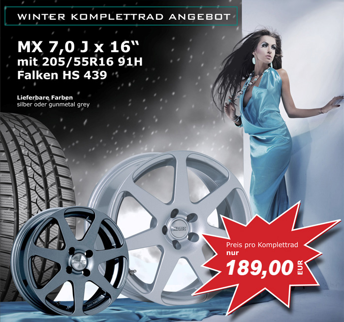 Winter-Komplettrad-Angebot – ARTEC MX mit FALKEN-Winterreifen in 205/55-R16