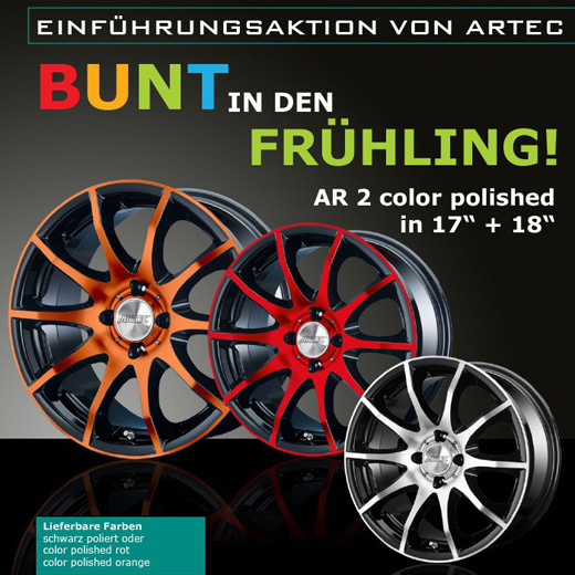 ARTEC Wheels – AR2 Einführungsaktion der color polish in rot und orange [17 und 18Zoll]
