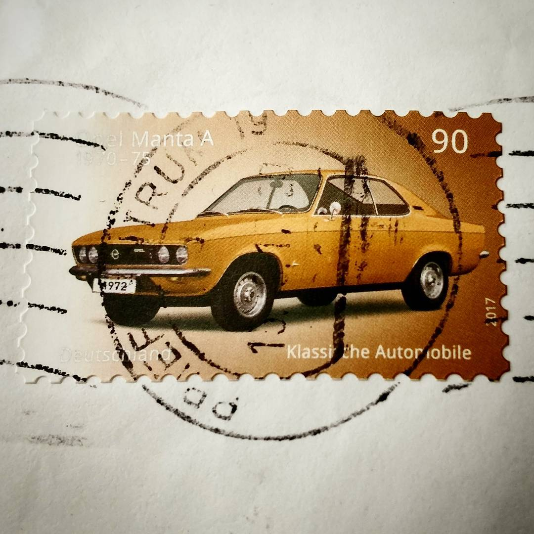 In this day and age beautiful stamps become rare. This one made me smile. The @Opel Manta A was an affordable sports car in Germany. Sold from 1970 to 1975. Most of em became cans for soda drinks because of rust. So it's always great to see a in a car show or in a museum. Thanks @DeutschePost for this ! ??