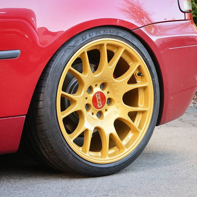 Just a little detail shot and a different angle of a golden BBS wheel. I really like the stance of this BMW E46 Compact. Owner: @marquezzphotography