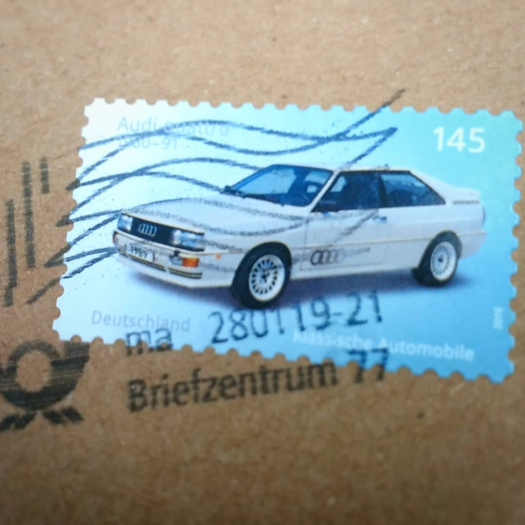 ?? Today I got a letter with one of the most beautiful stamps for a long time – I love it! ? ?? Heute habe ich einen Brief mit einer der schönsten Briefmarken seit langem erhalten @audi @deutschepost