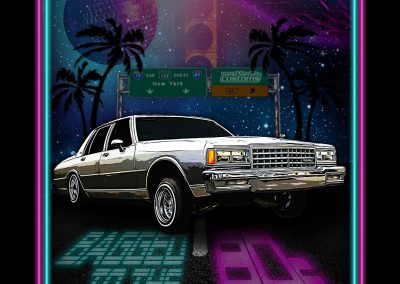 Motiv - Bagged to the 80s - Chevrolet Caprice mit Neon-Rahmen - WestBerlinCustoms